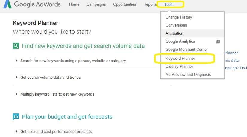 Google adwords intro google keyword planner