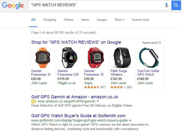 google search SERPS result gps watch