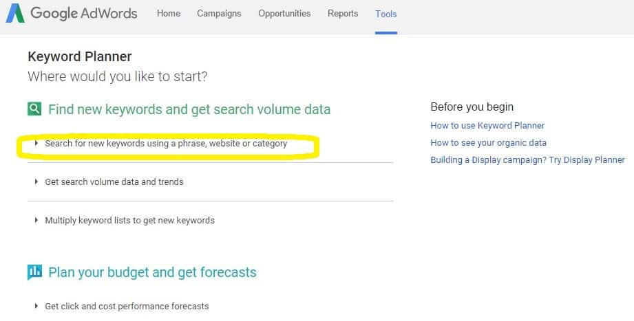 keyword planner highlight option
