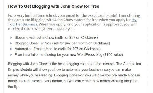 Blogging with john chow for free