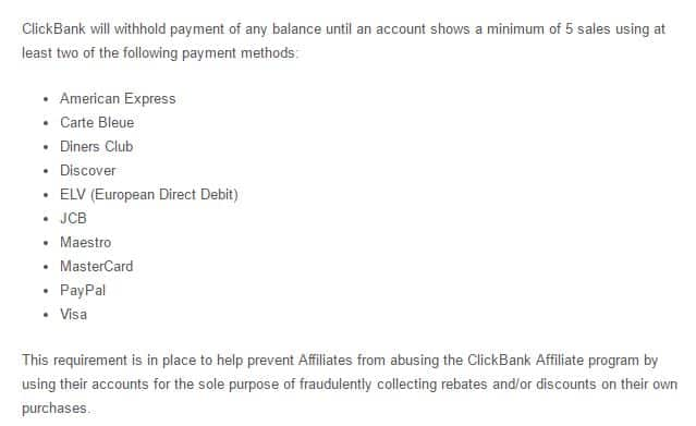 clickbank customer distribution requirement
