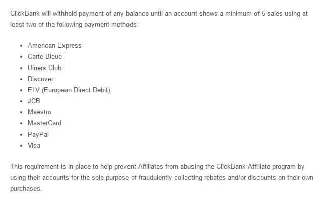 clickbank customer distribution requirement