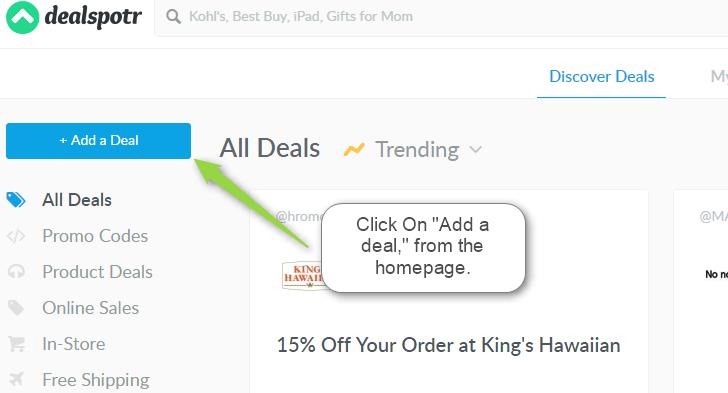dealspotr add deal
