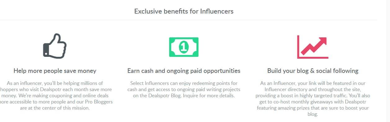 dealspotr influencer benefits
