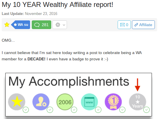my 10 year wealthy affiliate report