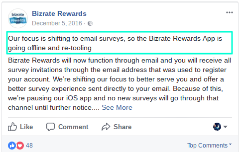 bizrate rewards app closed