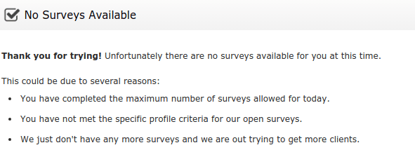 oneopinion no surveys available