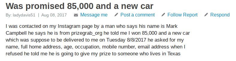 prizegrab scam