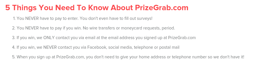 prizegrab scammers
