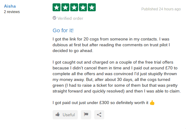 20cogs 5 star review