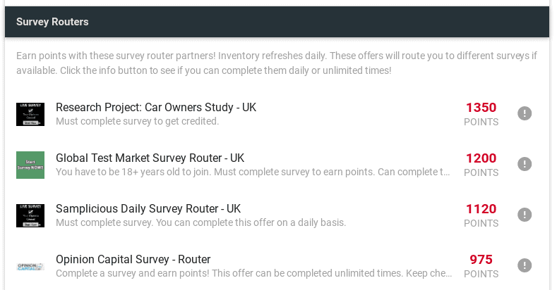 survey routers grab points