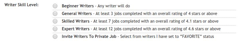 hirewriters skill level
