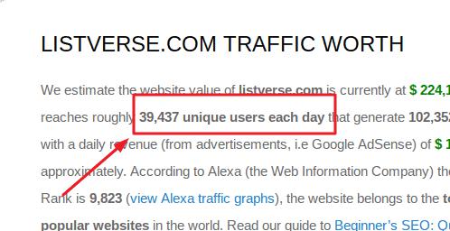 listverse traffic worth website