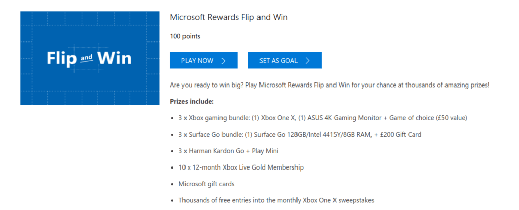 Microsoft rewards flip and win