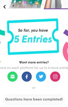 use app prize draw entries