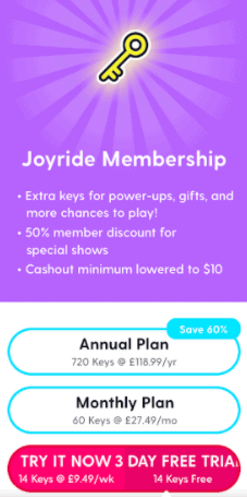 joyride paid memberhship options