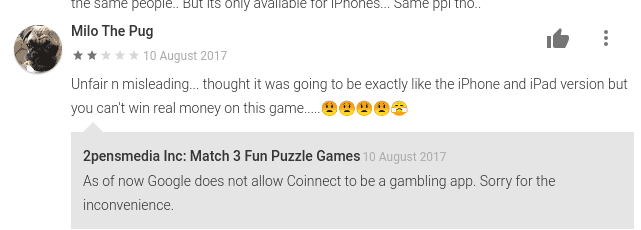 Coinnect google play review